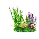 Saim Aquarium Plants Artificial Plastic Fake Flower Plants Set Decor Fish Tank Aqua Landscape Water Grass...