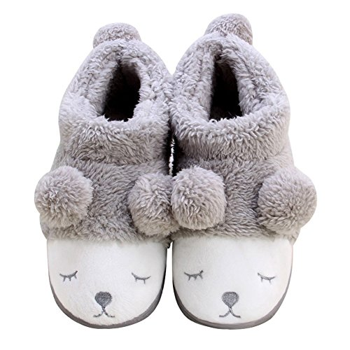 Frauen Warm Plüsch Soft Sole Indoor Slipper Grau EU 33-34