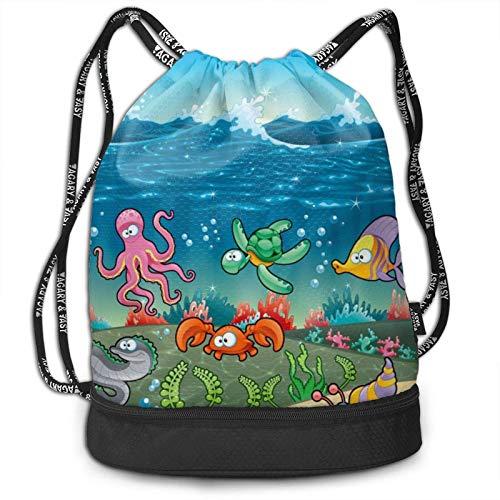 XCNGG Drawstring Backpack,Beautiful Ocean Print Sport Travel Gym Bundle Backpack Bag