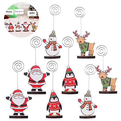 Christmas Place Card Holder,Coxeer 8PCS Place Card Holders Wood Base Cartoon Table Card Holder Colorful Painted Christmas Holder for Card Photo Christmas Decoration