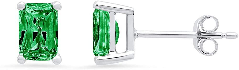 Clara Pucci 2.1 ct Brilliant Emerald Cut Solitaire VVS1 Flawless Simulated Emerald Gemstone Pair of Stud Earrings Solid 18K White Gold Butterfly Push Back