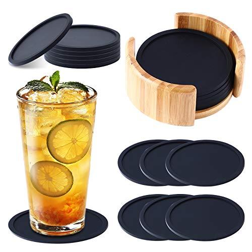 Ulikey Silikon Untersetzer Rund für Gläser, 8er Set Schiefer Untersetzer Schwarz mit Aufbewahrungsbox aus Holz, Glasuntersetzer Anti-Rutsch Tischuntersetzer für Getränke, Tassen, Bar, Glas