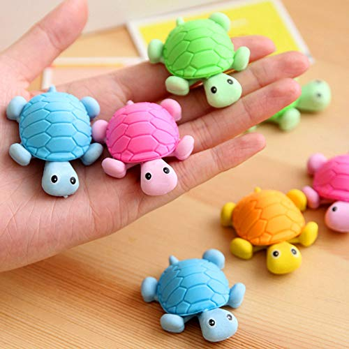 DoyiFun 12pcs Turtle Pencil Erasers, Cute Funny Novelty Pencil Eraser Kids Gift Toy for Party Supplies Favors