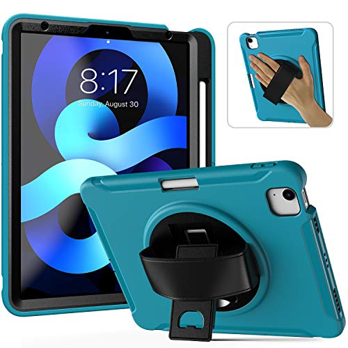 Case for iPad Air 4 2020 with Pencil Holder | 10.9 Inch iPad Air Case | Full Body Shockproof Rugged Protective Case Hand Strap for iPad Air 4th Gen (Litght Blue)