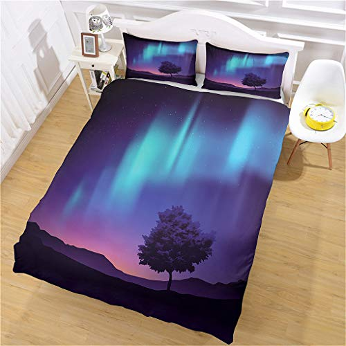 HHANN Duvet Cover Sets Single Size - 3 Pieces Beautiful Aurora Starry Sky Landscape Microfiber Polyester Bedding Set, 1 Ultra Soft Quilt Duvet Cover 135X200cm With 2 Pillowcases, For Baby Kids Adults