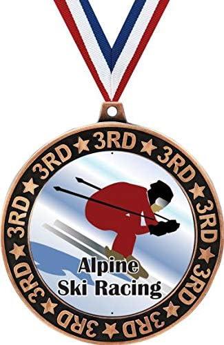 Alpine Ski Racing 3rd Place Gifts Downhi Bronze Medal 2.75