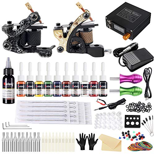 Solong Tattoo Complete Tattoo Kit 2 Pro Machine Guns 10 Inks Power Supply Foot Pedal Needles Grips Tips TK222