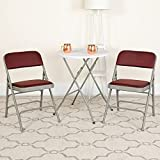 Flash Furniture 2 Pack HERCULES Series Curved Triple Braced & Double Hinged Burgundy Patterned Fabric Metal Folding Chair