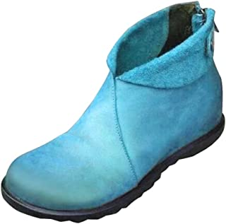 Kauneus Womens Vintage Color Round Toe Flat Casual Boots Back Zipper Leather Comfy Soft Classic Ankle Booties