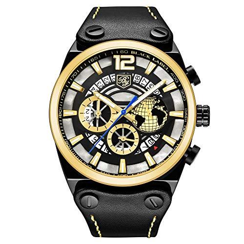Relojes Hombre Locomotora Reloj Punk 3 Ojos 6 Pines Multifunción Deportivo Impermeable Reloj Cinta Calendario Luminoso Reloj, D