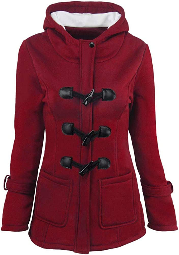 SOMESHINE Womens Pea Coats Winter Outdoor Warm Wool Blended Classic Hoodies Jackets Horn Buckle Zip Up Button Long Outwear