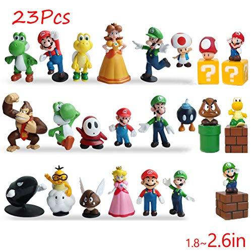 Gumair Super Mario Action Figures Toy 23 Pcs 1.42'~2.68' Mario、Luigi、Yoshi、Peach Princess、Daisy Princess etc. Perfect Super Mario Cake Topper Decorations