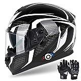 Bluetooth Motorcycle Helmet FreedConn DOT Full Face Bluetooth Helmets Motorcycle (Black & White, L)