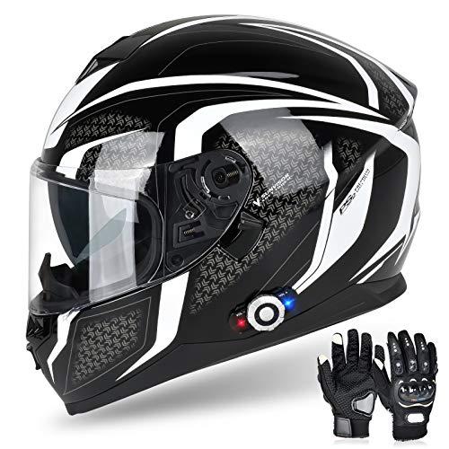 Bluetooth Motorcycle Helmet FreedConn DOT Full Face Bluetooth Helmets Motorcycle (Black & White, XXL)