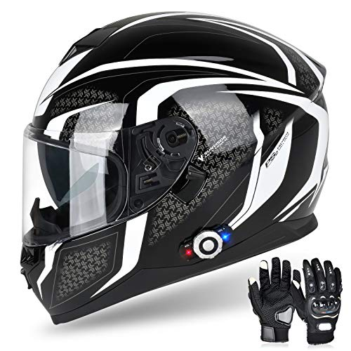 Bluetooth Motorcycle Helmet FreedConn DOT Full Face Bluetooth Helmets Motorcycle (Black & White, XXL)