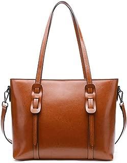 Fashion New Sleek Minimalist Large Capacity Billiard Shoulder Slung Leather Handbag (Color : Brown)