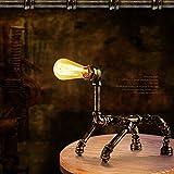 Modeen Vintage industrial lámpara de mesa de hierro forjado Estilo rústico de pipa de agua Litera Little Dog Steampunk lámpara de escritorio de luz, bronce