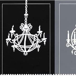 Wallpaper Border Modern White Chandeliers on Blocks of Black & Gray