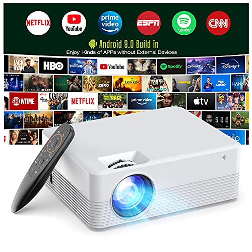 Projector Android 9.0, Smart Projector WiFi Bluetooth Outdoor Projector...