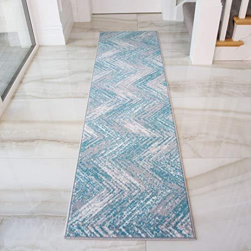 The Rug House Alfombra geométrica con diseño de zig-Zag en Colores Terracota, Azul, Ocre y Amarillo, para el Pasillo, dormitorios, Sala de Estar y Cocina 60cm x 240cm