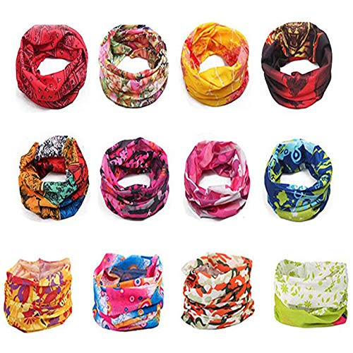 Tvoip 12PCS Magic Scarf Windproof Cycling Scarf UV Protection Face Mask Outdoor Climbing Hiking Ski Fishing Headwear Bandana Tube Neck Scarf -Random Colour