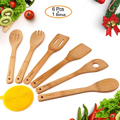 Wooden Spatula Bamboo Utensil Set 6 Pieces Wooden Cooking Spoon Kitchen Cooking Tools for Nonstick Pots and Pans Cookware Turner Spatula Mixing Forked and Slotted Spoon