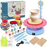 LotFancy Pottery Wheel for Kids 8 and Up, Air Dry Sculpting Clay and Craft Paint Toy Kit, Ceramic Machine for Beginners, DIY Pottery Art Studio with USB Power Cable