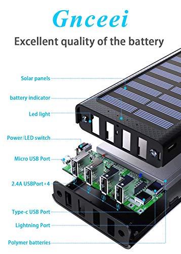 Gnceei Powerbank 25000mAh 2019 Neu Glasoberflächen Externer Akku mit 2 Eingänge und 3 Ausgänge Handy Power Bank für Smartphones, Android-Telefon, Tablett