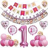 sancuanyi 1er Cumpleaños Bebe Globos Decoracion Cumpleaños 1 Año Bebe Niña (Rosa)...