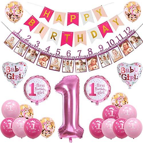 sancuanyi 1 Compleanno Decorazioni Bambina Ragazzo Palloncini Compleanno 1 Anno Decorazioni per Neonati Ragazza (Rosa)