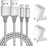 iPhone Charger,2Pack 6FT MFi Certified Lightning Cable Data Sync Charging Cords with 2Pack USB Wall Charger Travel Plug Adapter Compatible iPhone 12 Pro/11 Pro/Xs/XR/X/8/8Plus and More