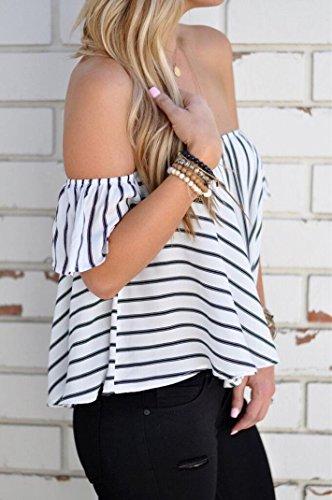Lisingtool Women's Off Shoulder Stripe Casual Blouse Shirt Tops (S, White)