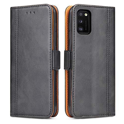 Bozon Handyhülle für Galaxy A41, Lederhülle mit Kartenfächer, Schutzhülle mit Standfunktion, Klapphülle Tasche für Samsung Galaxy A41 (Schwarz)