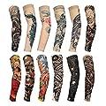 HOVEOX 12 Pcs Temporary Tattoo Sleeves Set Body Art Arm Stockings Protector Arts Fake Halloween Tattoo for Men Women