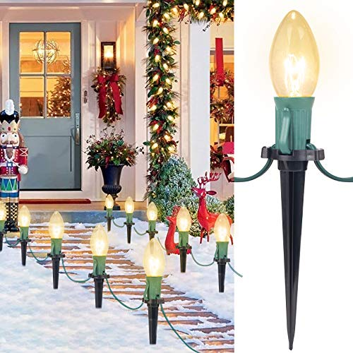 C9 Christmas Pathway String Lights - 25.7 Ft. 20 Clear Lights and 20 Stakes Extendable Waterproof for Outdoor Walkway Lights/Driveway Christmas Lights Use, UL Listed, Warm White