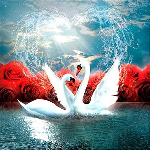 Lazodaer - Kit de pintura de diamante redondo para manualidades, decoración de pared, diseño de cisne de rosas de 30 x 30 cm