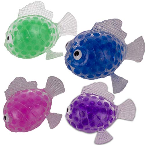 Veil Entertainment Trendy Squishy Squashy Fish Jelly Beads 3' Novelty Toy, Assorted, 4 Pack