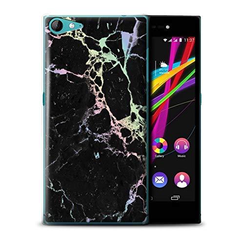 eSwish Hülle/Case für Wiko Highway Star 4G / Schwarz Geknackt Regenbogen Muster/Farbe Holografisch Marmor Bewirken Kollektion