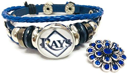 Fashion Snap Jewelry MLB Tampa Bay Rays Blue Leather Bracelet W/Extra 18MM - 20MM Charm Baseball Fans