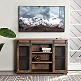 Mueble de TV de madera efecto nogal para salón, aparador para comedor, armario de vino, armario con 2 puertas correderas, 3 estantes de almacenamiento