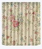 Cortina de ducha vintage con diseño de flores, tela impermeable 661, 183 x 183 cm