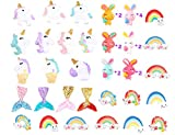 40pcs Flatback Slime Charms Beads Supplies Assorted Unicorn Mermaid Tail Rainbow Animals Rabbit Resin Buttons for DIY Craft Scrapbooking Ornament,Phone case Hair Clip Jewelry Accessory