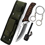 Hunting Knife - Fixed Knife with Fire Starter Wire Saw and Sheath - Survival Set for Hunting Camping Hiking - Large Bushcraft Dependable Sharp Serrated Blade Knifes - Best EDC Outdoor Work Gear HK 975