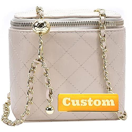 RXDZ Bolso mediano de piel suave para mujer, con nombre personalizado, correa de cadena de viaje (tamaño único)