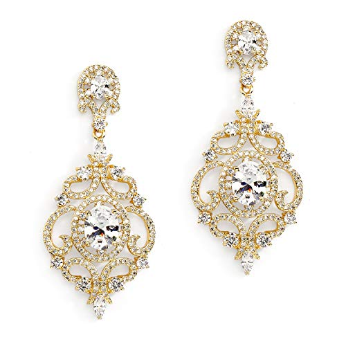 Mariell Victorian Scrolls 14k Gold Plated Cubic Zirconia Wedding or Evening Chandelier Earrings