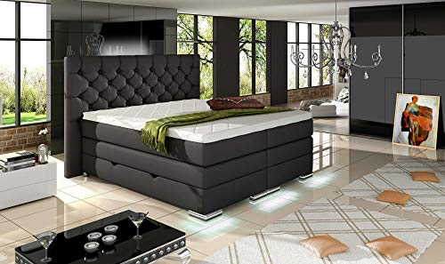HG Royal Estates GmbH Mailand Designer Chesterfield Boxspringbett elektrisch inkl. LED-Beleuchtung, Visco Topper, 7-Zonen Taschenfederkern, H3, Schwarz Stoff Größe 140 x 200 cm