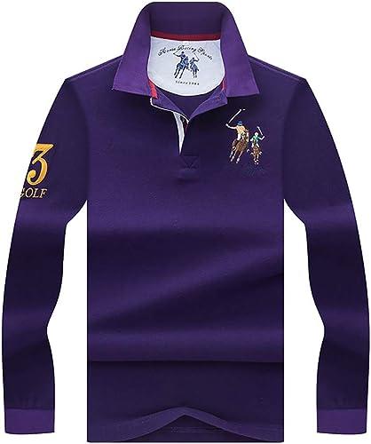 W&TT T-Shirt à Manches Longues à Manches Longues en Coton à Manches Longues pour Hommes,violet,L