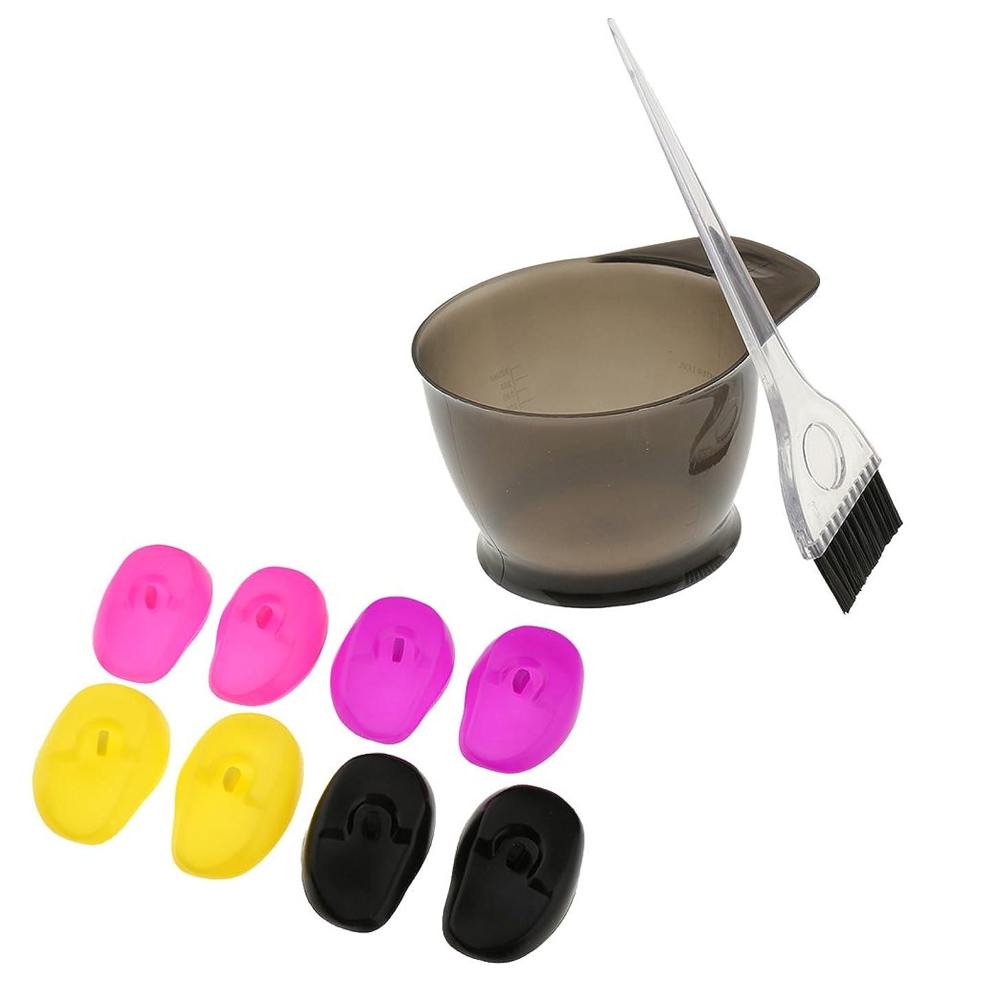 不測の事態ブッシュ市民Baosity シリコン サロン用品 ヘアカラー ブラシ ブリーチツール 染料ボウル 着色ツール イヤーカバー 再利用可能 1セット
