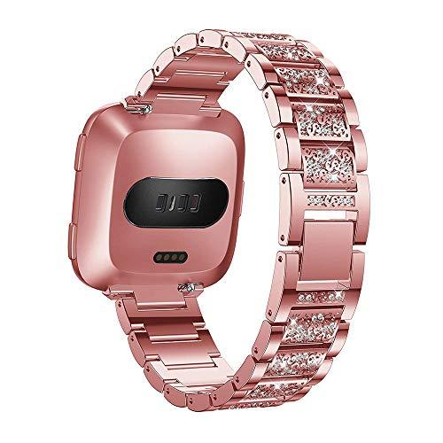 YiMiky Versa 2 Correas de Reloj, Acero Inoxidable de Repuesto para Mujer, Correa Ajustable de Metal, Accesorios para Fitbit Versa/Versa 2/Versa Lite
