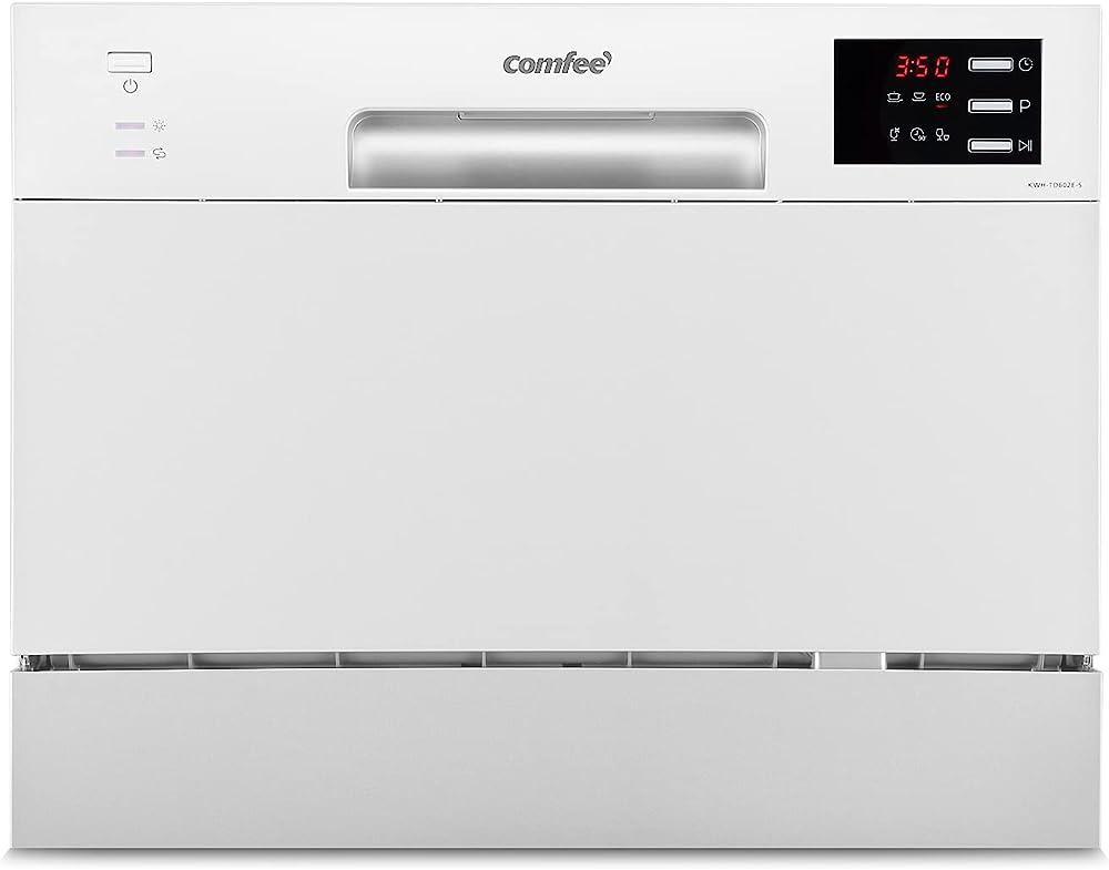 Comfee` mini lavastoviglie con 6 coperti compatta da tavolo 6 programmi display a led avvio ritardato KWH-TD602E-W